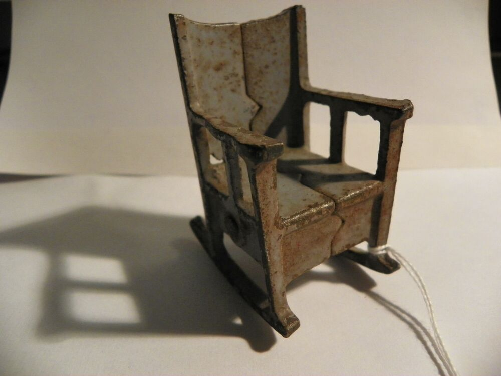 Antique Cast Iron Chairs : Vintage cast iron doll house furniture rocking chair