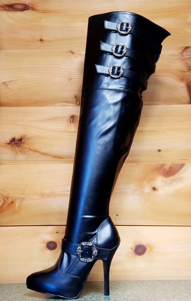 Diva Thigh High Plus Size Wide Top Shaft Boots Black Leatherette 7 ...