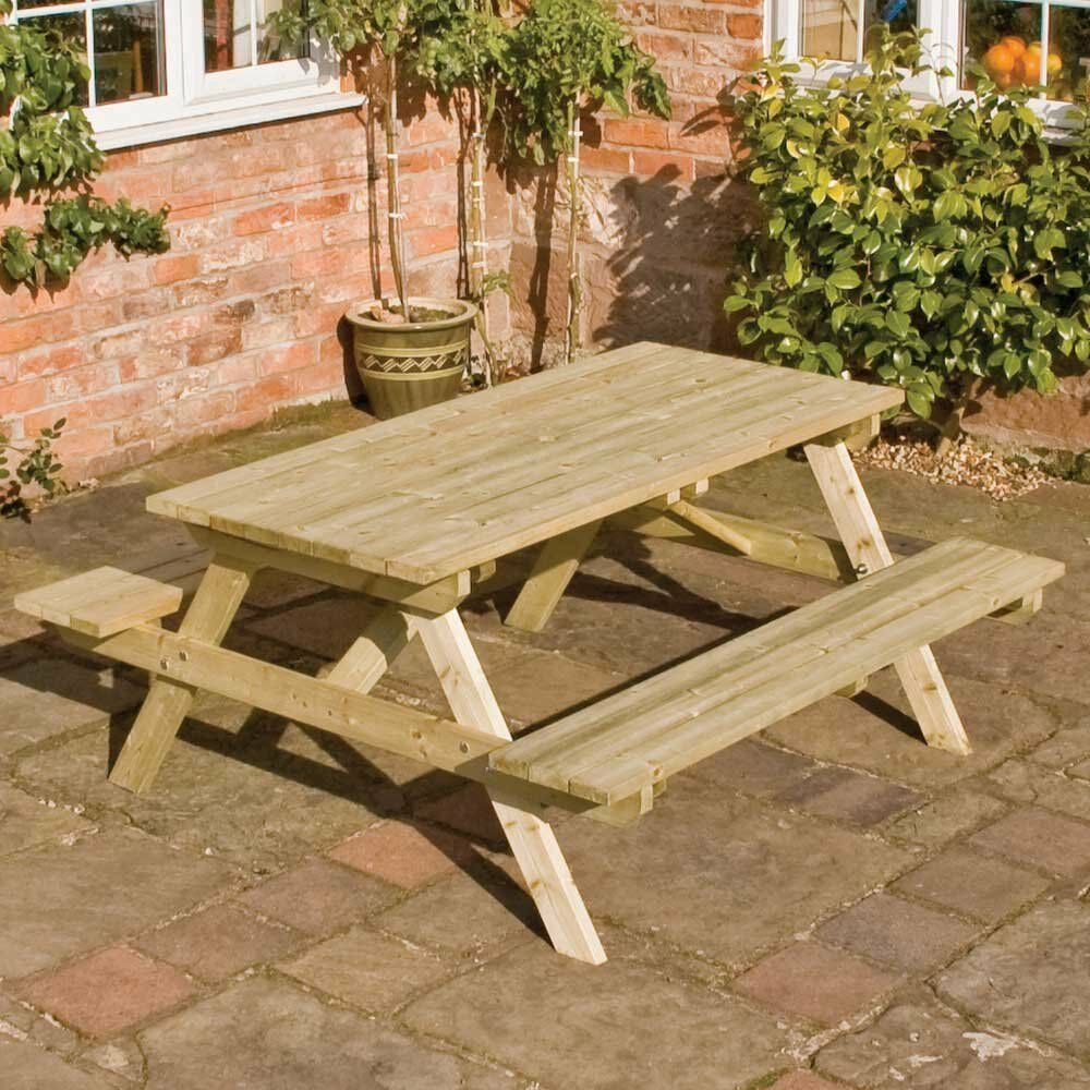 4ft wooden picnic bench table rowlinson fsc pressure. Black Bedroom Furniture Sets. Home Design Ideas