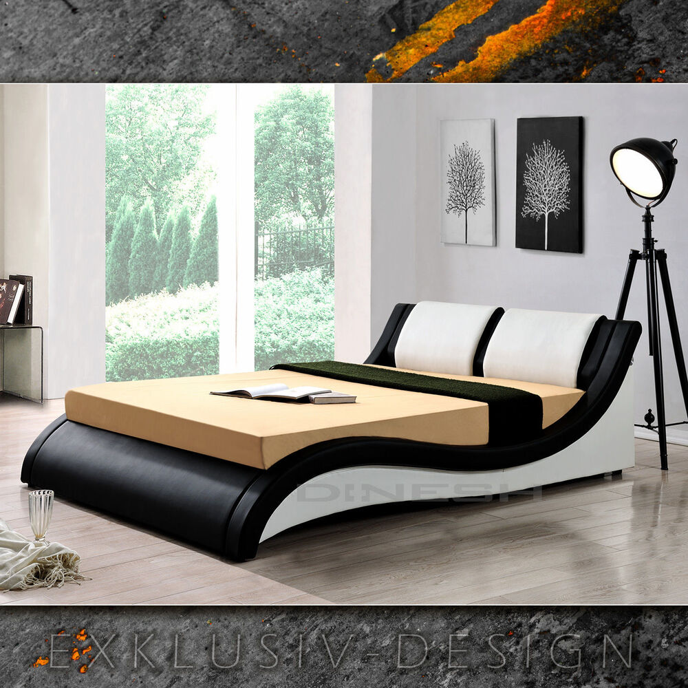 rom schwarz weiss doppelbett polsterbett bettgestell bett. Black Bedroom Furniture Sets. Home Design Ideas