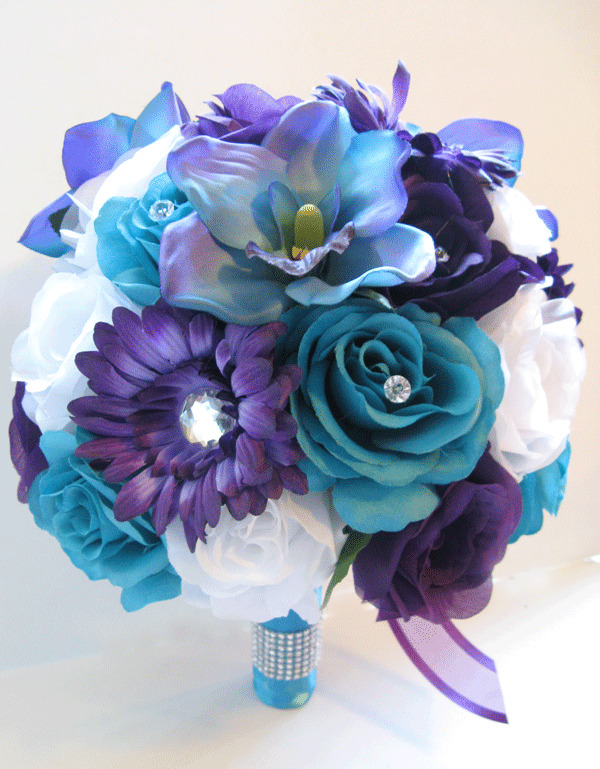 17 pc wedding bouquet bridal silk flowers purple daisy turquoise blue orchid ebay. Black Bedroom Furniture Sets. Home Design Ideas