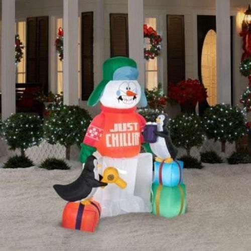 Christmas airblown inflatable blow up 5 5 shivering snowman outdoor