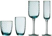Set Of 4 Artic Blue Wine Champagne Tall Hi Ball Tumbler Mixer Drinking Glasses