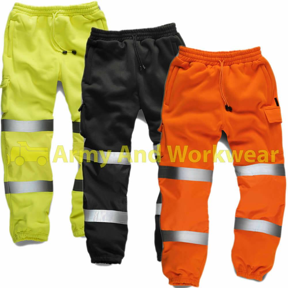 Hi visibility jogging bottoms. Hi Vis Yellow and Orange conform to EN ISO Class 1. Orange is also GO/RT railway use certified. Black and navy provide enhanced reflective visibility. Fully elasticated waist with drawcord.