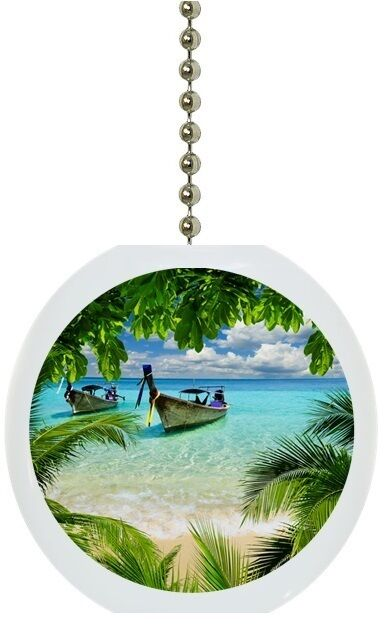 Tropical Beach Palm Tree Solid Ceramic Ceiling Fan Light