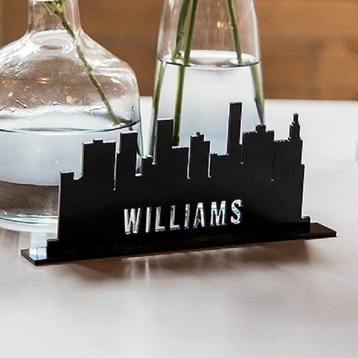 Personalized Industrial Cityscape Acrylic Wedding Table
