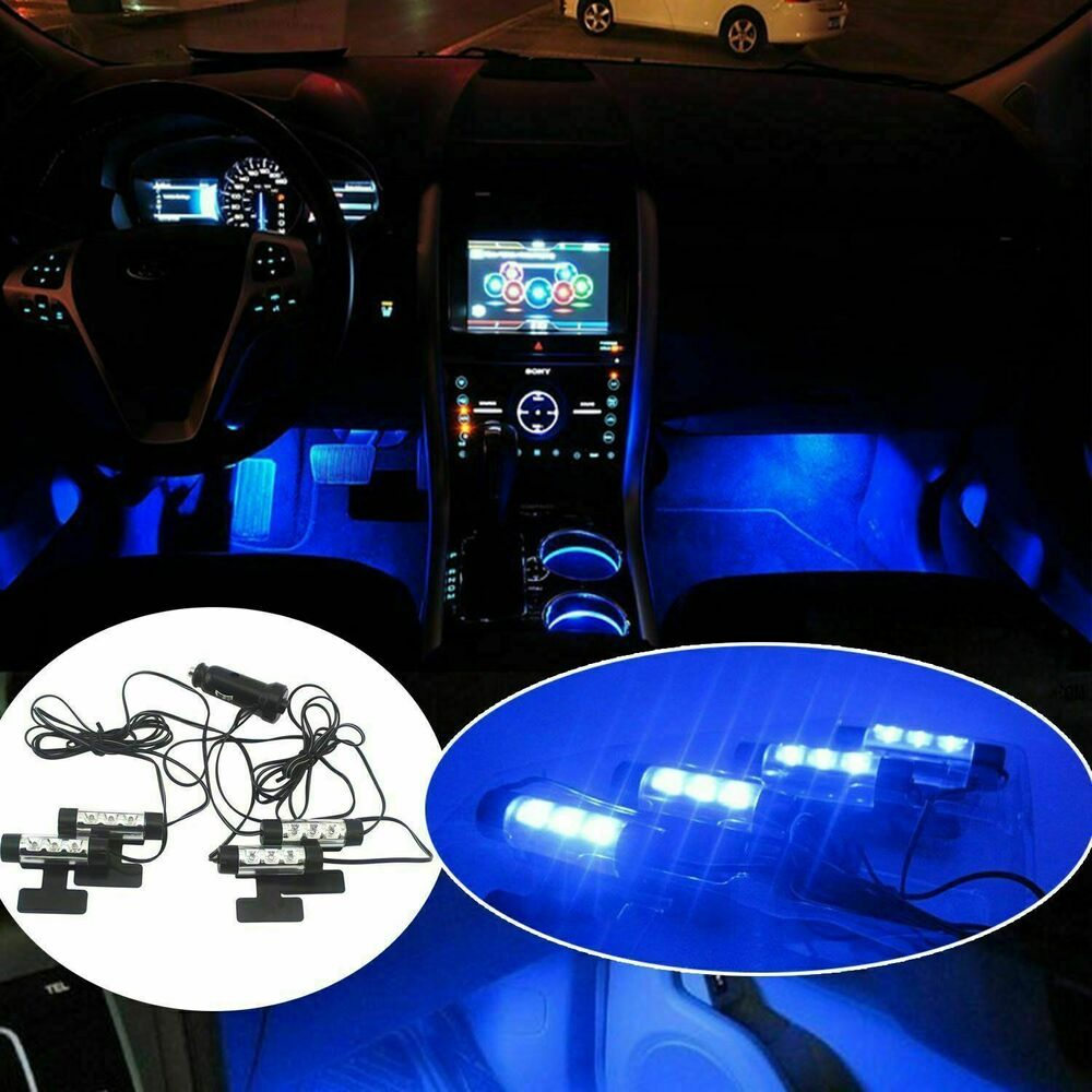 Car led interior atmosphere under dash floor led light strip lamp blue ebay for Led car interior lights ebay