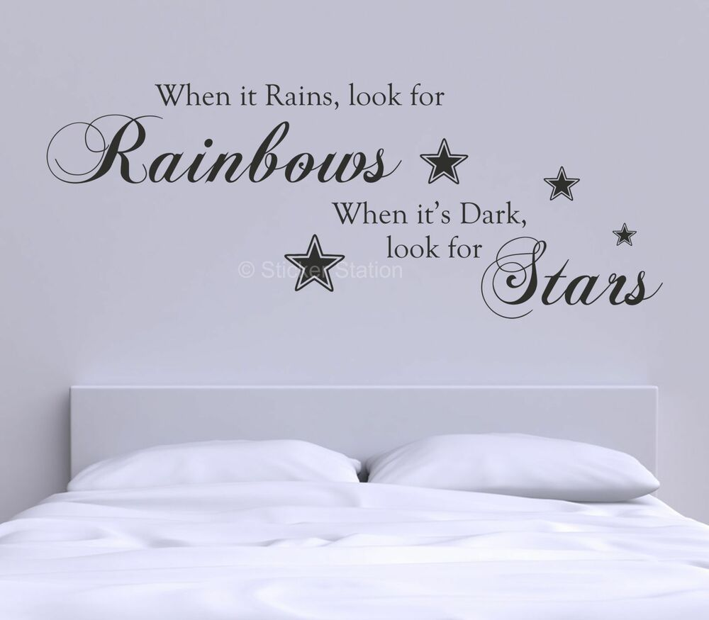 When it rains look for rainbows inspirational quote wall for Best quotes for wall art
