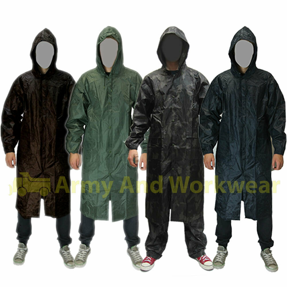 Mens waterproof long rain jacket coat kagoul wet work army for Mens fishing rain gear