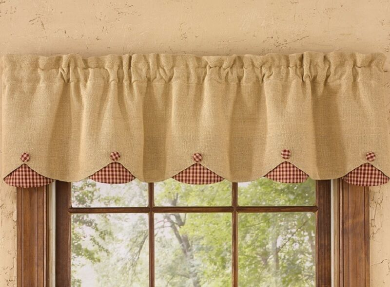 Park Designs Burlap Dark Red Check Lined Scalloped Window Valance 58 ...