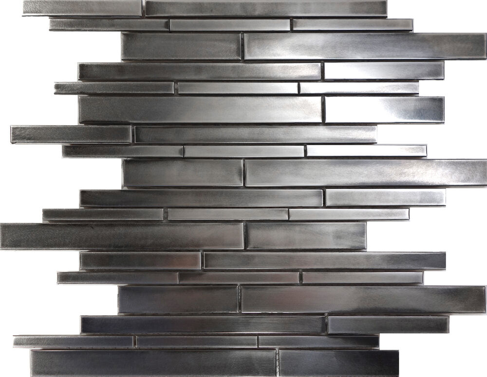 Sample Rustic Industrial Stainless Steel Linear Mosaic