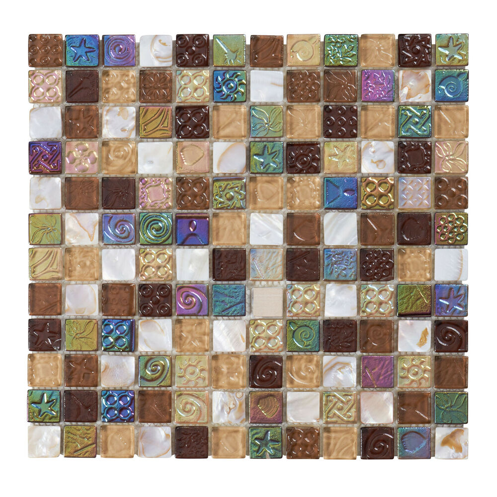 Glass Mosaic Backsplash: 10SF Brown Mother Of Pearl Sell Iridescent Glass Mosaic