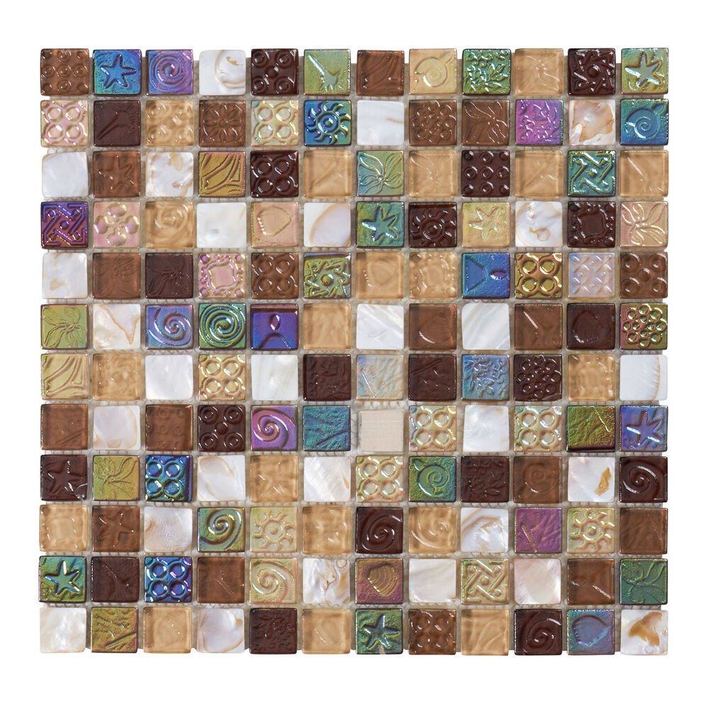 Kitchen Tiles Ebay: 10SF Brown Mother Of Pearl Sell Iridescent Glass Mosaic Tile Kitchen Backsplash