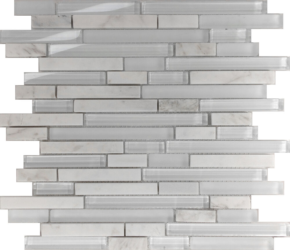 Natural Stone Glass Mosaic Tile Sample Backsplash 8mm: 10SF White Linear Natural Stone Glass Blend Mosaic Tile
