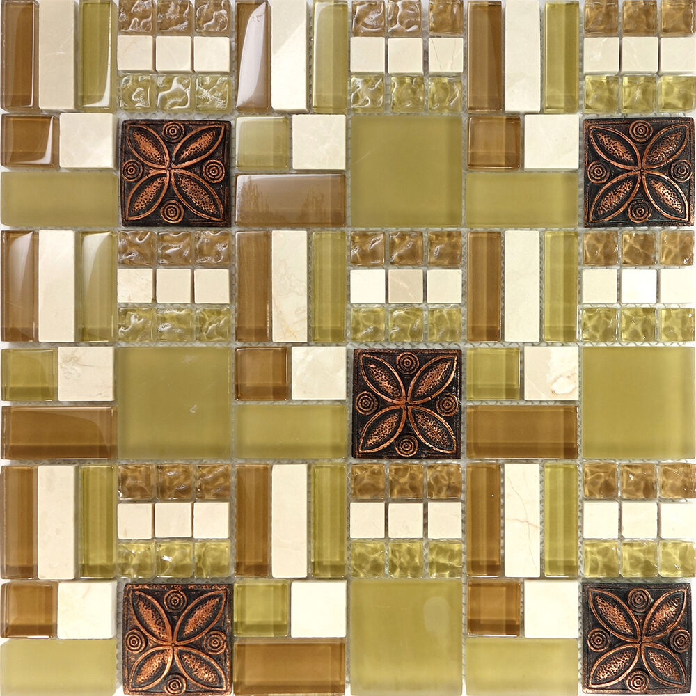 floral kitchen tiles sample brown copper floral inserted glass mosaic 1021