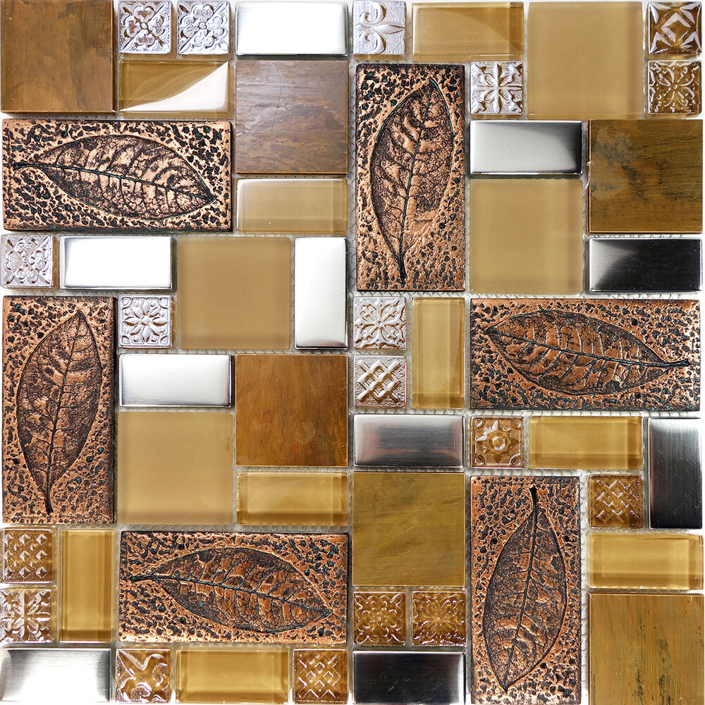 Sample copper metallic leaf decor insert glass mosaic tile kitchen backsplash ebay Backsplash mosaic tile