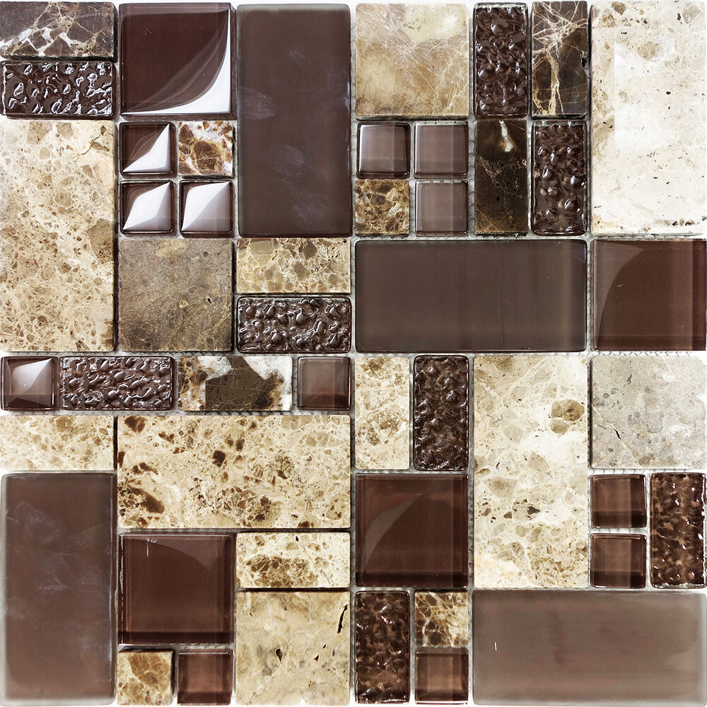 Sample Cream Crackle Glass Mosaic Tile Kitchen Backsplash: Sample Brown Pattern Imperial Marble Stone Glass Mosaic