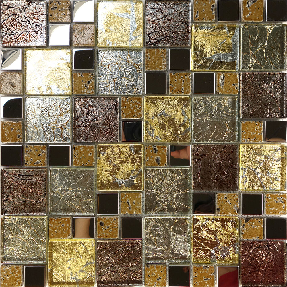 1sf golden brown metallic foil metal glass mosaic tile. Black Bedroom Furniture Sets. Home Design Ideas