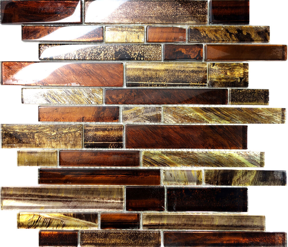 Sample Marble Green Brown Glass Linear Mosaic Tile: Sample Golden Brown Metallic Linear Glass Mosaic Tile