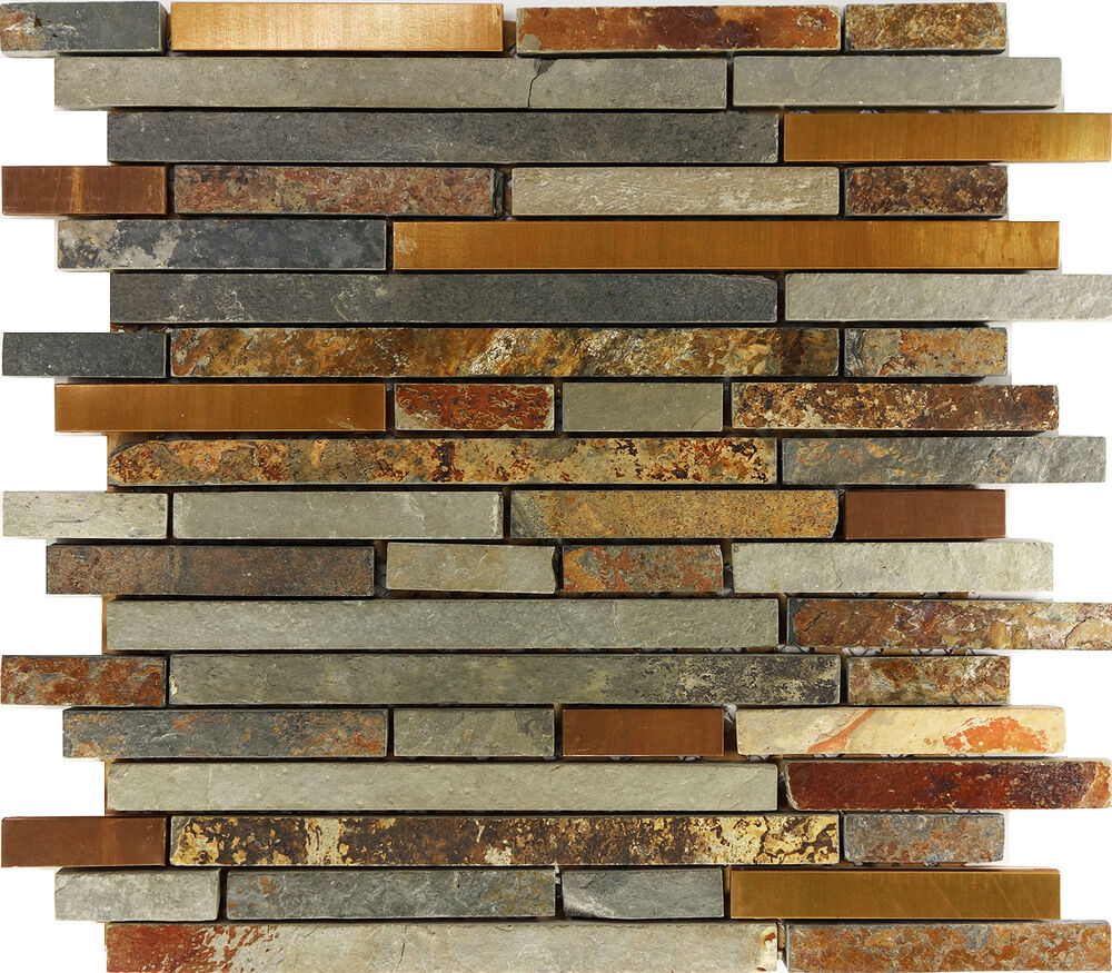 Sample Marble Green Brown Glass Linear Mosaic Tile: Sample Rustic Copper Linear Natural Slate Blend Mosaic