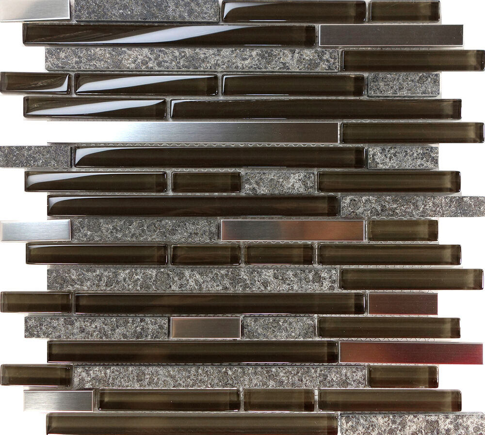Sample Stainless Steel Insert Marble Stone Beige Mosaic: Sample Brown Stainless Steel Gray Natural Stone Mosaic