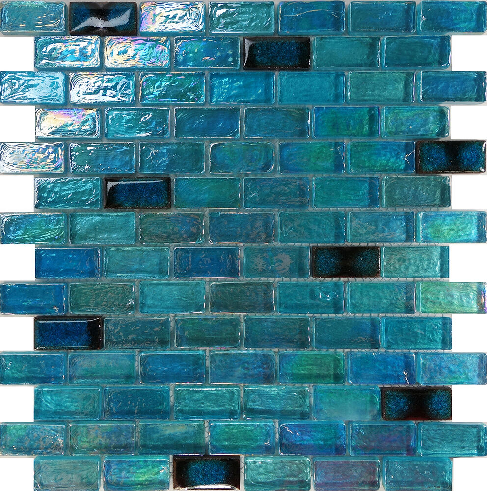 Sample Blue Iridescent Glass Mosaic Tile Kitchen