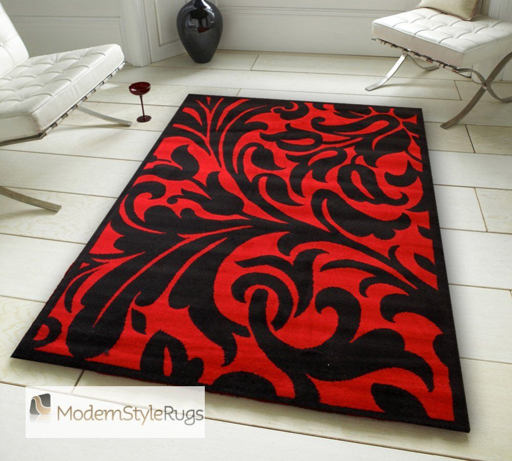Black And White Rug Ebay Uk: Black And Red Budget Rug