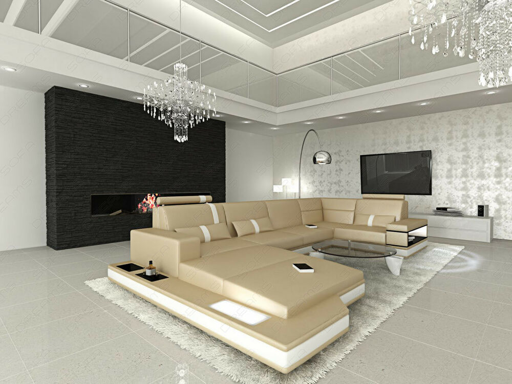 ledersofa ecksofa ottomane luxus couch sofa messana in u form xxl eckcouch beige ebay. Black Bedroom Furniture Sets. Home Design Ideas