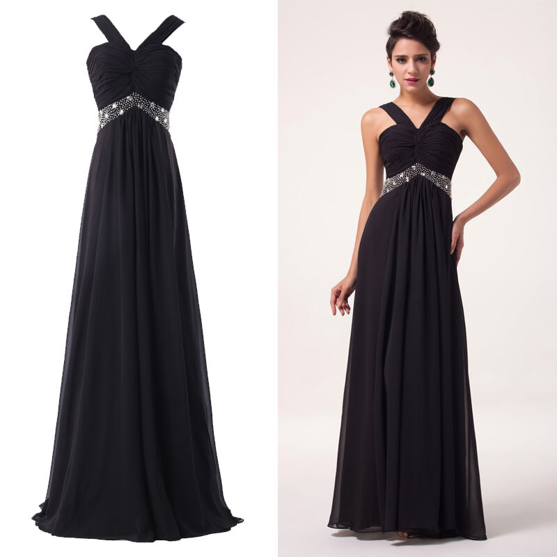Cheap black sexy long evening masquerade gowns party prom for Wedding dresses cheap ebay
