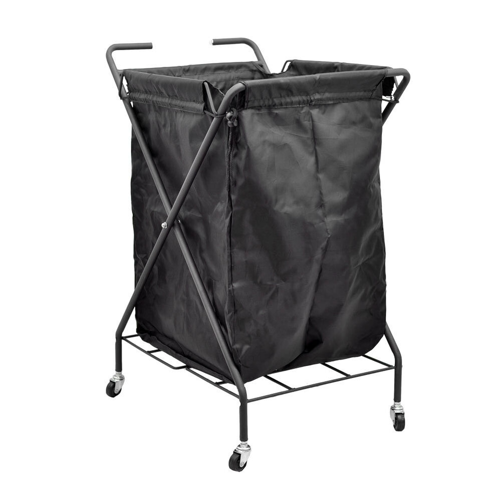 nylon rolling laundry bin dirty gym towel metal storage