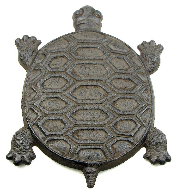 New set of 3 adorable turtle cast iron stepping stone for Decorative garden stones