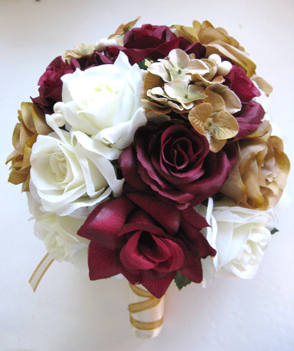 17 Pc Wedding Bouquet Bridal Silk Flowers BURGUNDY