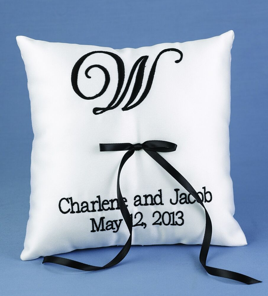 Monogram Wedding Ring Bearer Pillow: Custom Top Monogram PERSONALIZED Wedding Ring Bearer
