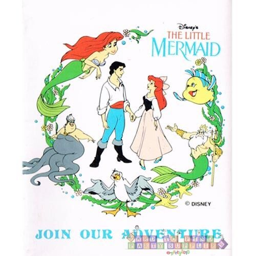 Details About ARIEL THE LITTLE MERMAID INVITATIONS Vintage Birthday Party Supplies Card Note