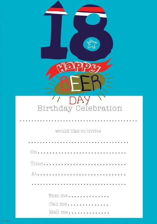 Pack Of 20 18th Birthday Party Invitation Sheets