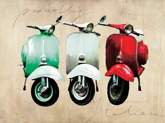 teo rizzardi proudly italian keilrahmen bild leinwand vespa italien kult ebay. Black Bedroom Furniture Sets. Home Design Ideas
