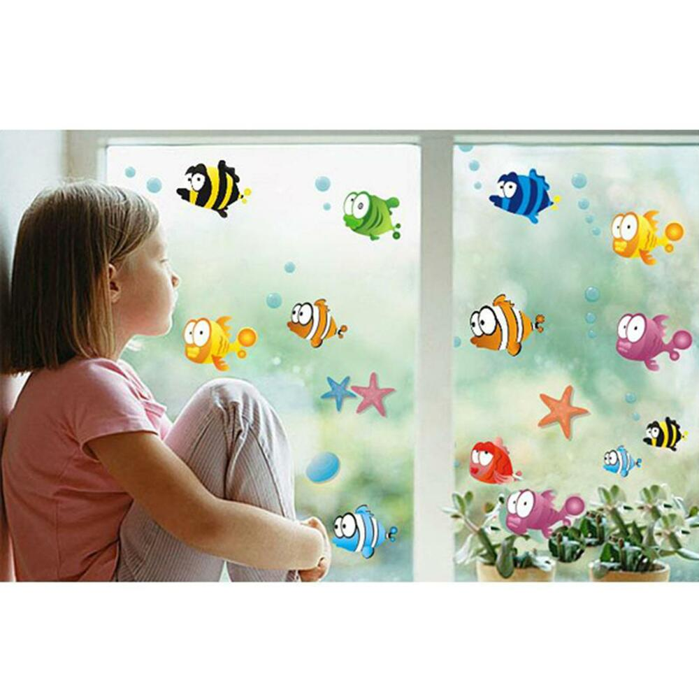 cute cartoon fishes wall sticker bathroom baby room nursery kids decor decal ebay. Black Bedroom Furniture Sets. Home Design Ideas