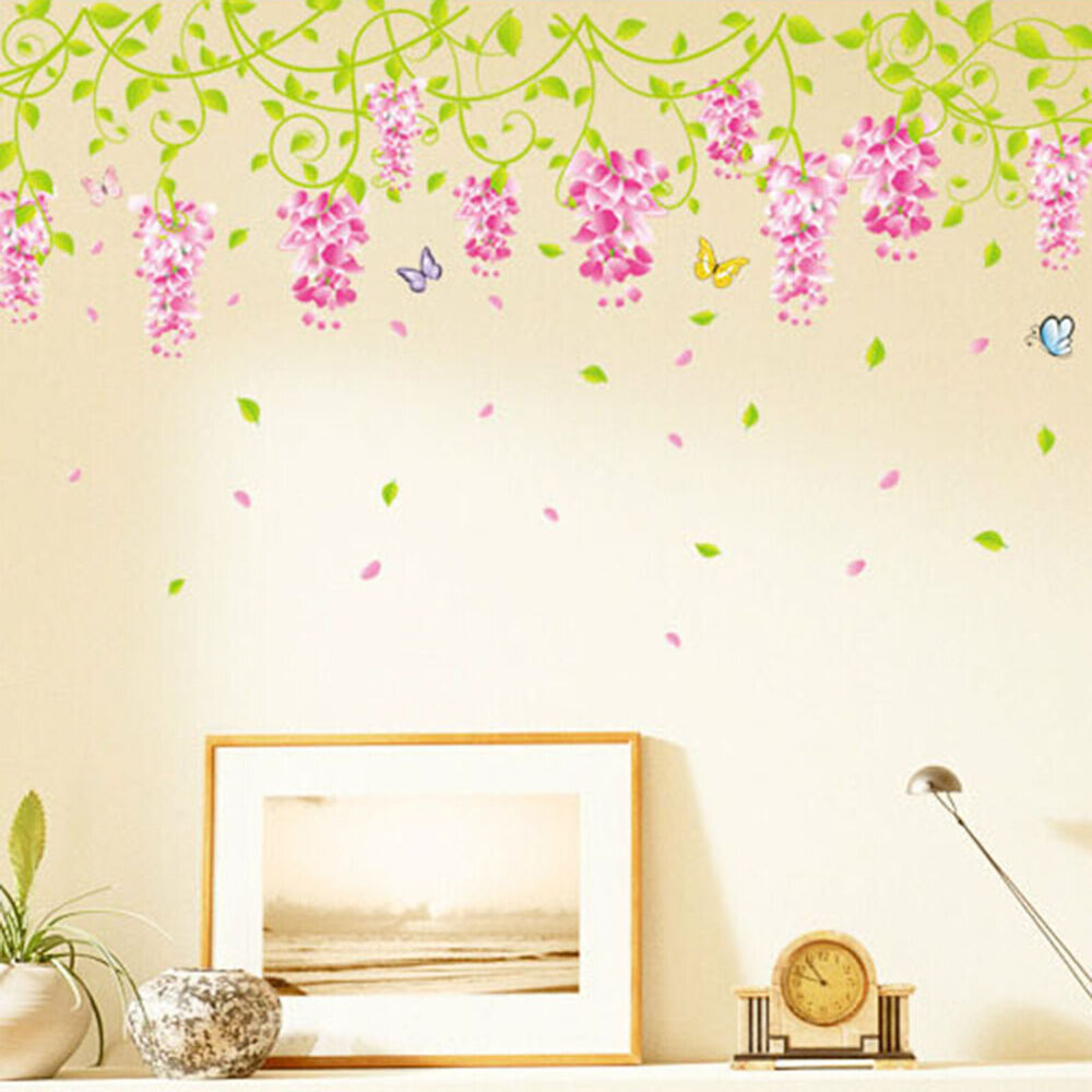 Beautiful Blooming Wisteria Flower Wall Sticker Wedding