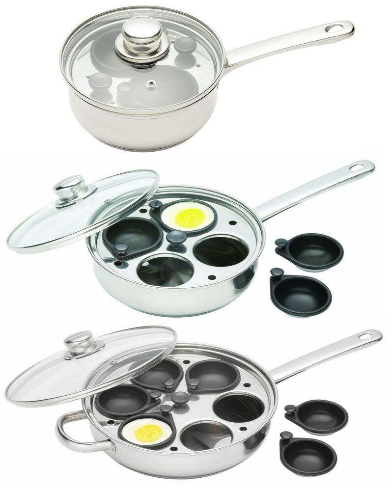 Kitchen craft clearview stainless 2 4 or 6 cup egg for Decor 4 egg poacher