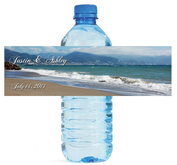 100 beach theme wedding water bottle labels engagement With beach themed water bottle labels