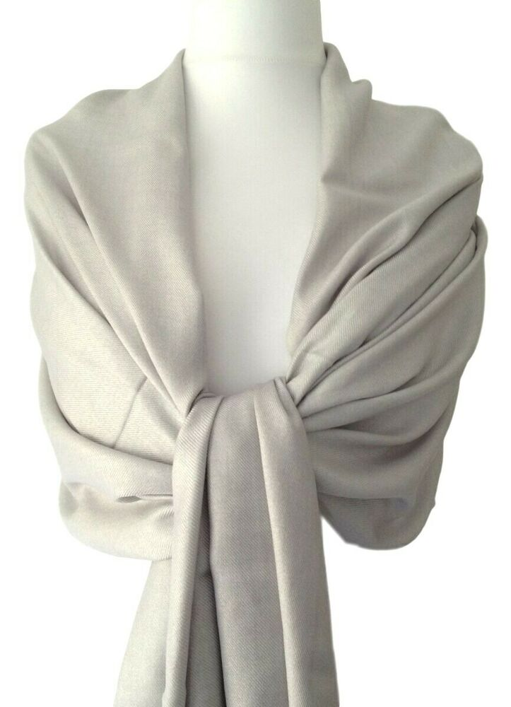 pashmina silver grey fair trade scarf ladies shawl wrap wedding bridesmaid new ebay. Black Bedroom Furniture Sets. Home Design Ideas