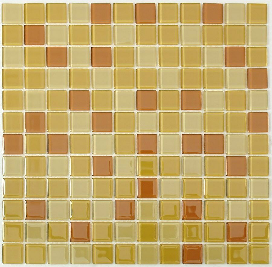 Sample Golden And Light Brown Mix Glass Mosaic Tile For