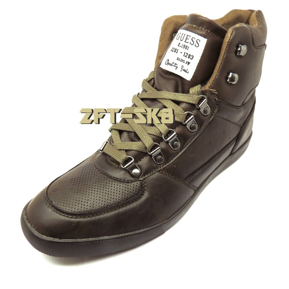 guess josten brown leather high top mens shoes ankle