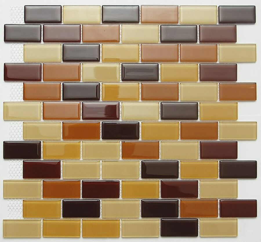 Sample White Gray Random Subway Glass Mosaic Tile Kitchen: SAMPLE.Dark Brown Mix Subway Glass Mosaic Tile For