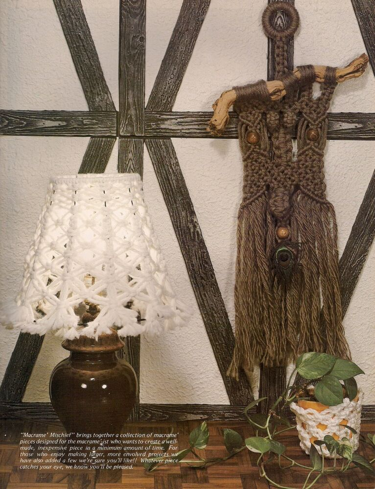 Gm19 lamp shade wall hanging patterns macrame mischief for Wall hanging craft from waste