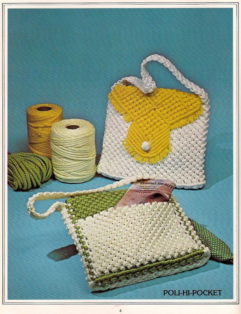 Macrame Purse Patterns Free : Macrame Purse Shoulder Bag with Pocket Pattern Book Macrame Purses ...