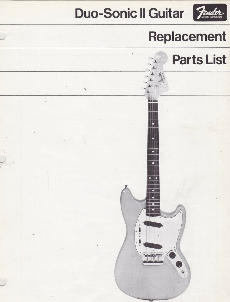 misc 1193 1970s fender duo sonic guitar replacement parts list schematics ebay. Black Bedroom Furniture Sets. Home Design Ideas