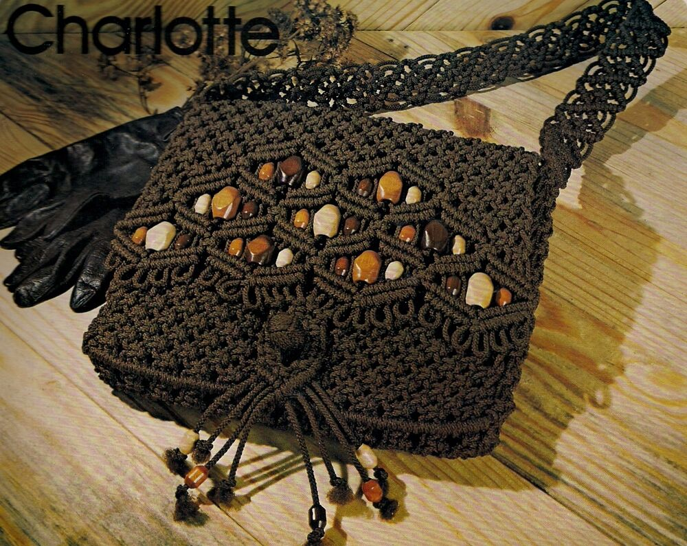 Macrame Purse Patterns Free : Charlotte Beaded Macrame Handbag Purse Pattern #7107 Purse Strings Vol ...