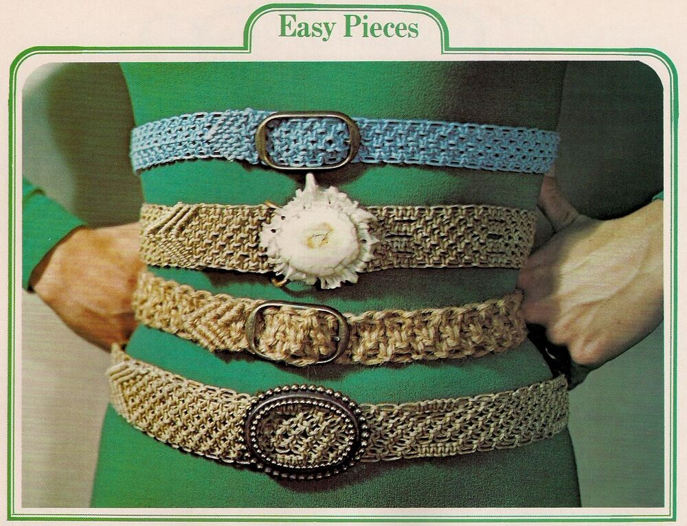 Vintage Macrame Braided Belt Patterns 1970s 7118 Symphony