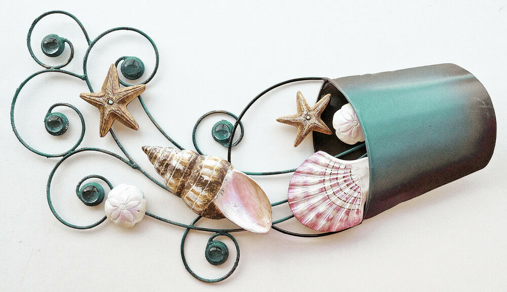 Small Nautical Wall Decor : Coastal wall art small seashell wave metal